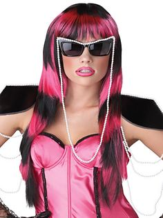 Untamed Wig Black and Hot Pink