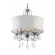 This is it for bedroom!  Only $100.00  Ashford Classics White Drum Shade Crystal Chandelier Pendant 2234 WH