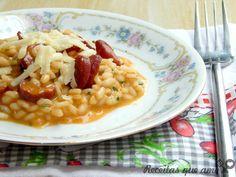 Risoto de calabresa com caldo de bacon caseiro