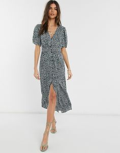 Buy French Connection button front leopard print maxi dress at ASOS. Get the latest trends with ASOS now. French Connection, Asos, Maxi Wrap Dress, Maxi Dresses, Leopard Dress, Going Out Dresses, Green Dress, Short Sleeve Dresses, Short Sleeves