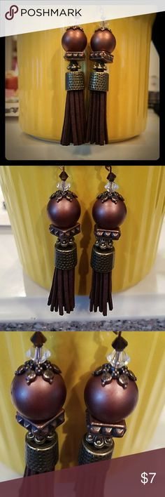 HANDCRAFTED SABLE BROWN, CRYSTALS, SUEDE, GLASS HANDCRAFTED SABLE BROWN, CRYSTALS, MIXED METALS, SUEDE, AND GLASS EARART....MADE BY ME WITH TONS OF LOVE ❣💕💕💕 ALWAYS MADE OF HIGH QUALITY BEADS AND MATERIALS ❗❗❗💕💕😊 1 OF A KIND DESIGNED EARART🐼 MY OWN Jewelry Earrings