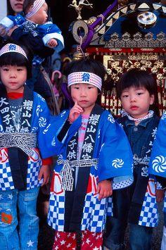 Japanese Children Dressed for Hachi-man Matsuri Festival in Takayama ~ Gifu Prefecture, Japan