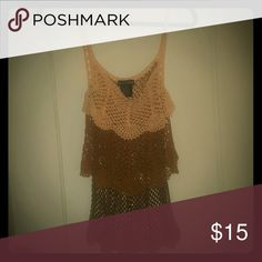 BEBE Tiered crochet tank top size M BEBE Tiered crochet tank top size M but runs smaller like an XS or Small Ombre browns bebe Tops Tank Tops