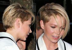 Michelle Williams sidecut/undercut.  Super cute & trendy :)