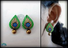 Peacock feather studs