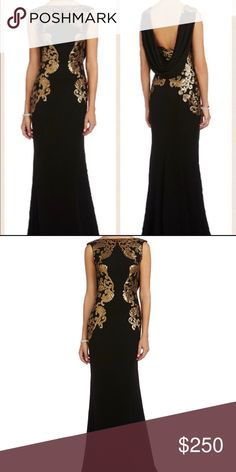 Tadashi Shoji Evening Gown Floor length black evening gown with gold medallion patterns and a glamorous scoop back detail. Like new. Worn once for fiancées military ball then dry cleaned and put back into closet. Tadashi Shoji Dresses