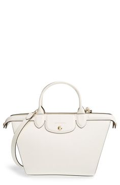 Women's Longchamp 'Medium Le Pliage - Heritage' Leather Satchel - Ivory