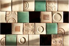 besso handmade tiles : B&W mix with pale greens