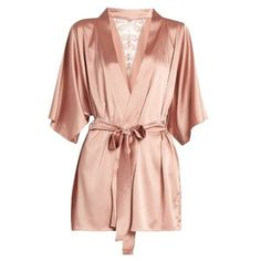 Fleur of England Sofia silk-blend and lace robe found on Polyvore featuring intimates, robes, lingerie, outerwear, pink, bath robes, pink bathrobe, pink kimono robe, kimono bathrobe and pink lingerie