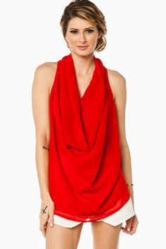 ShopSosie Style : Essential Draped Tank in Red