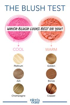 Here's how to choose a hair color based on your skin tone: Dust a generous amount of pink blush on one cheek and peach on the other. Stand by a window and look in a mirror to determine which one blends best with your skin. Cool tones look good in pin All Things Beauty, Beauty Make Up, Hair Beauty, Beauty Secrets, Beauty Hacks, Beauty Tips, Beauty Products, Neutral Blonde, Hair Color Shades