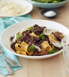 Beef Shin Ragu The Italian word 'Ragù' more or less means a meaty sauce for pasta. This recipe is a lovely way to make a flavoursome sauce using a very economical cut. Meat Recipes, Slow Cooker Recipes, Pasta Recipes, Cooking Recipes, Lamb Recipes, Slow Cooking, Cooking Ideas, Recipies, Stewing Steak
