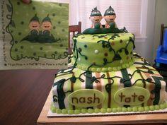 "Twin boy ""Pea Pod"" Baby Shower Cake"