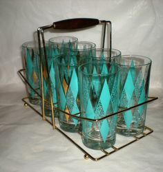 Mid Mod Rack with Glasses 1960's Vintage  Set by MyHeirloomCharms