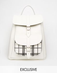 Grafea Leather Backpack with Check Pocket