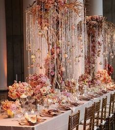 Crushing on these hanging crystals and fairytale floral details to create one dreamy wedding reception! Wedding Table Centerpieces, Centerpiece Decorations, Wedding Decorations, Enchanted Forest Wedding, Strictly Weddings, Event Decor, Event Ideas, Arte Floral, Deco Table
