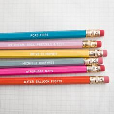 days of summer  engraved pencil set by one fine dae by onefinedae, $10.00 - Gift Ideas Under $10
