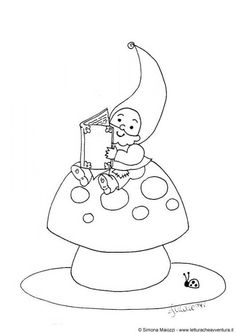 gnome, fly agaric 'shroom & ladybug coloring page Free Coloring Sheets, Colouring Pages, Adult Coloring Pages, Coloring Books, Puzzle Photo, Ladybug Coloring Page, Fairy Tale Crafts, Spring Books, Beautiful Drawings