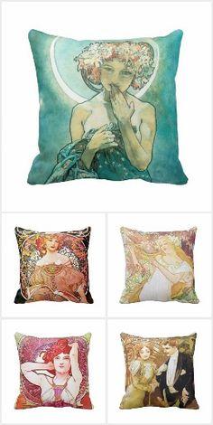 Alphonse Mucha Square Pillows