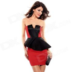 Sexy V-Neck Bandeau Peplum Dress for Women - Black + Red...Nice !