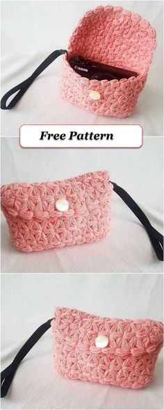 Latest And Unique Crochet Free Patterns - DIY Rustics Crochet Clutch Pattern, Crochet Belt, Crochet Pouch, Crochet Wool, Pouch Pattern, Crochet Flower Patterns, Crochet Designs, Free Pattern, Knitting Patterns