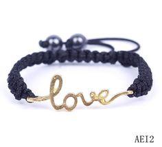 $1.39  Golden Love Heart Crystal Bracelets Jewelry Gift Nylon