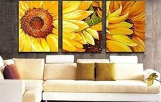"""100% Hand Painted Art """"Yellow Sunflower"""" Modern Oil Painting on Canvas Wall Art Home Decoration 3 Piece Art on Canvas Stretch and Ready to Hang"""