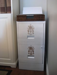 Paint an extremely boring metal filing cabinet into something that fits your decor