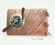 Oak Leaf Impressions handmade copper toggle clasp by EmaKDesigns
