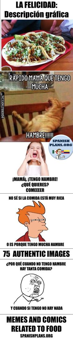75 authentic images about La Comida for Spanish class including Spanish Memes and Comic strips.
