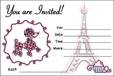 Pink Poodle In Paris/Free Printables; Includes invites, party hats, place cards, toppers, etc.