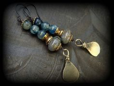 S.A.L.E.Brass Kuchi Charms Blue Kyanite and Snake by YuccaBloom, $25.00~<3