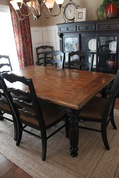 Paint dining room set black - leave top as wood and glass -