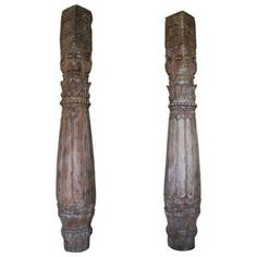 For Sale on - An exciting pair of hand carved teak wood pillars from Rajasthan, India. These late century columns have an attractive form, wood tone and patina. Wooden Columns, Stone Columns, Wooden Shack, Columns For Sale, Bleached Wood, Wood Pedestal, Moorish, Stone Carving, Architectural Elements
