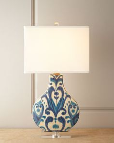 """Greystone Indigo Lamp by Scalamandre Maison by Port 68 at Horchow. 16""""W x 11.5""""D x 30""""T. Imported."""