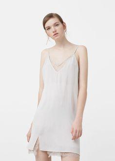 Robe empiècement dentelle - Robes pour Femme | MANGO Belgique