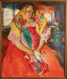 Абрам Архипов. Баба в красном. Около 1910 - Category:Abram Arkhipov - Wikimedia Commons