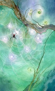 "Stephanie Pui-Mun Law - Shadowscapes Tarot - Fantasy Art ""Eight of Pentacles"" Fantasy Kunst, Fantasy Art, Illustrator, Spider Art, Spider Crafts, Oracle Cards, Pentacle, Tarot Decks, Whimsical Art"