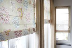 Focus sur stores Américains en tissu Sarah Carmin, rideaux et store Américain voile en Voile de Lin Naturel - Collection Heytens