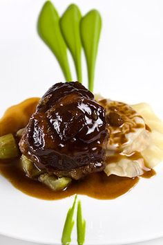 Glazed Veal Cheek with Courgette and Parmesan Puree l  The Square Restaurant, Mayfair London