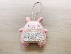Bunny Plush Toy - Stuffed bunny - Kawaii plush - Pink bunny Messenger rabbit soft toy - READY TO SHIP. $18.00, via Etsy.