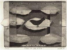 """Saatchi Online Artist: Maurizio De Lotto; Etching, 1996, Printmaking """"bird on the wire"""""""