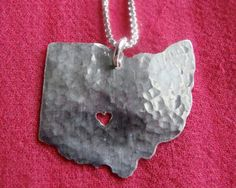 Items similar to Ohio Necklace. Custom Ohio State Buckeyes Silver Pendant with Heart. I Heart Ohio University Columbus Akron Charm. on Etsy The Buckeye State, Ohio State Football, Ohio State University, Ohio State Buckeyes, Ohio Is For Lovers, State Necklace, Classy And Fabulous, Jewelry Art, Jewelry Ideas