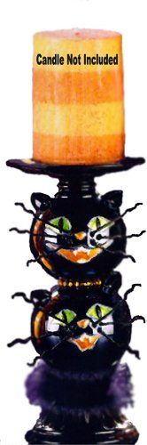 Black Cats Pillar Candle Holder 3-D Halloween Decorations www.mygiftfinder.net