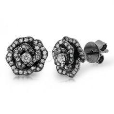 rose black rhodium diamond earrings