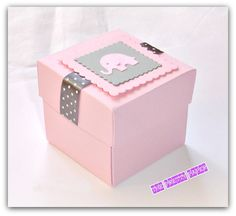 6  Light Pink & Grey Favor Boxes with Elephant Tag-OR CHOOSE YOUR COLOR £12.00