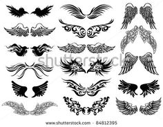 Wings tattoo vector set