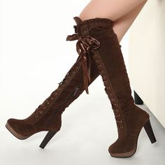 ec057e3aceb New Womens Punk Faux Suede Lace Up Over The Knee Thigh Thick High Heel Boots