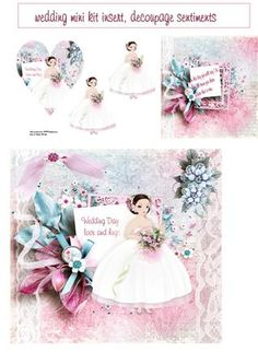 bride mini kit on Craftsuprint designed by Cynthia Berridge - bride mini kit card insert and layers - Now available for download!