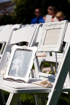 Dedicate a seating area at your ceremony for loved ones or family members who have passed. Place their pictures inside frames that match your décor for a beautiful and nostalgic addition to your special day.